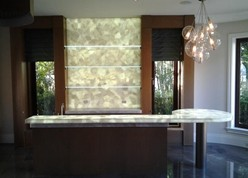 Backlit Glass, Stone and Fabric